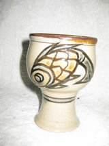 Signed Hand crafted ceramic wine glass in Okinawa, Japan