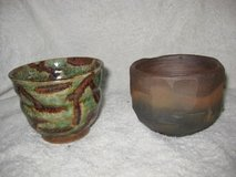 2 hand crafted potter cups/ signed in Okinawa, Japan
