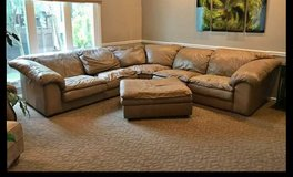 tan leather sectional in Naperville, Illinois