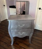 silver bedside table / living room table in Kingwood, Texas