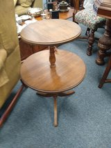 Round Wood Two Tier Side Table in Batavia, Illinois