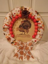 Thanksgiving wreath ,turkey motif pumpkin bow in Fort Hood, Texas