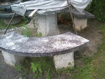 Stoneset-3benches and table /Vases / in Ramstein, Germany