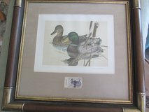 vintage 1981 Larry Hayden framed signed & numbered duck hunting print w/Texas stamp in Fort Bliss, Texas