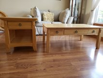 Oak coffee table and end table in Naperville, Illinois