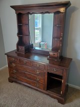 1970s 7 Drawer Dresser with Seperate 2 Drawer Mirrored Curio Top in Camp Lejeune, North Carolina