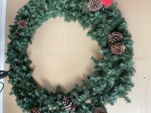 Christmas wreath - Large. Like New 65inches w/ lights in Naperville, Illinois