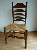 2 Original antique english high back chairs with rush weave oak wood 18 th century in Stuttgart, GE