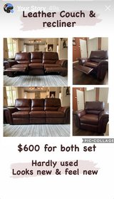 Leather Couch and Recliner in Travis AFB, California