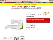 New Sewing Machine Brother FB1757T in Camp Pendleton, California