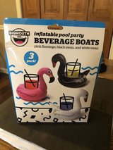 New 3 Pack of Inflatable Pool Party Beverage Boats - Flamingo, Black Swan, White Swan in Naperville, Illinois