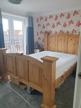 Solid wooden bed. made in Mexico in Lakenheath, UK