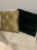 two pillows sold as a set, green suede and gold in Chicago, Illinois