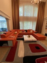 Orange Leather Sofa Set with light for living room in Fort Belvoir, Virginia