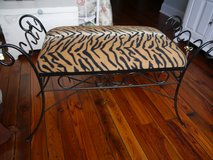 Black Upholstered Metal Bench, Various Fabrics Available in Clarksville, Tennessee