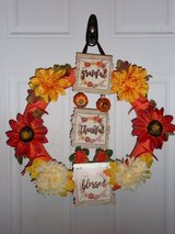 Thanksgiving wreath grateful,thankful, blessed. flowers bows. Pumpkins. in Fort Hood, Texas