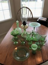 Mixed green depression glass lot in Cleveland, Texas
