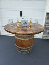 Natural wine barrel table in Chicago, Illinois