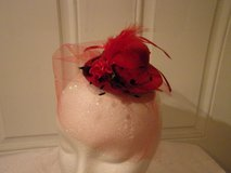 Fascinator hat Hair decoration, 1920's rockabilly.red sparkle tulle, mini rose,red ribbon. in Fort Hood, Texas