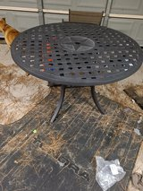 Patio Table Outdoor Lounge Lone Star Iron Basket Weave Round Outdoor Deck Bar Entertainment in Kingwood, Texas
