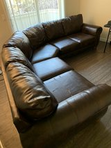 Chocolate Leather Couch in Travis AFB, California