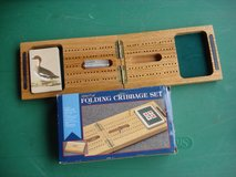 WOOD CASE FOLDING CRIBBAGE SET in Aurora, Illinois