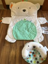 Bear tummy time play mat with pillow in Okinawa, Japan
