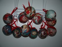 12 Christmas Balls Ornaments with Ribbons in Wiesbaden, GE