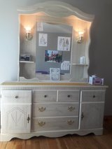 White dresser with mirror and lights in Naperville, Illinois