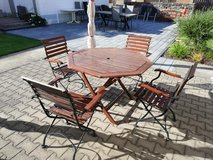 Outdoor table + 4 chairs real wood in Ramstein, Germany