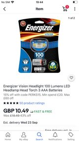 BNIP Energizer Head Touch Lamp 100 Lumen in Lakenheath, UK