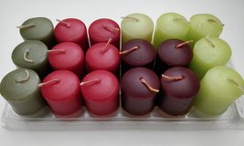 Set of 18 votive sized candles | a few different colors and scents plus one glass votive holder ... in Bartlett, Illinois