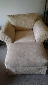 Overstuffed comfy chair plus ottoman in Naperville, Illinois