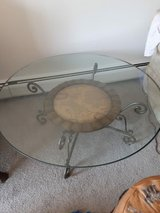 Glass coffee table with world map in Naperville, Illinois