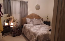 Upholstered bed camel color queen size in Fort Polk, Louisiana