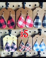 plaid faux leather earrings in Alamogordo, New Mexico