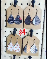 Halloween faux leather earrings in Alamogordo, New Mexico
