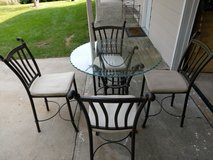 Bronze and glass pie crust table and 4 chairs in Ottawa, Illinois