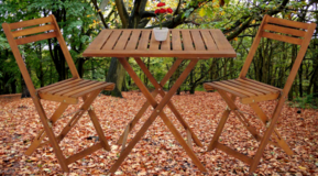 3 Piece Foldable Acacia Wood Bistro Set in Ramstein, Germany
