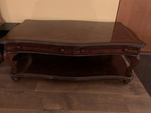 Coffee table and 2 end tables with matching round end table in Naperville, Illinois