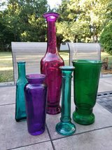 Lot of 5 Colored Glass Vases in Chicago, Illinois