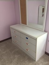 white dresser with colored drawer pulls in Naperville, Illinois