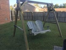 Outdoor wood swing in Fort Campbell, Kentucky