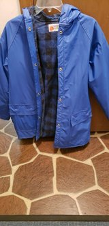 Hooded slicker raincoat w/plaid flannel lining Small Adult or L/XL Child in Naperville, Illinois