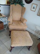Chair with Ottoman Muted Gold / Beige Pattern in Chicago, Illinois