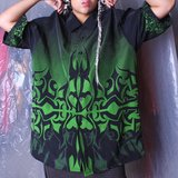 Airbrush Slime Green Rave Tribal Button Up Amplify in Fort Campbell, Kentucky