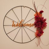 Fall bicycle wheel flower wreath in Cherry Point, North Carolina