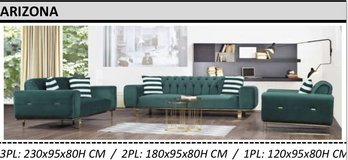 United Furniture - Arizona Living Room in Emarld Green - Dark Gray - Black including delivery in Spangdahlem, Germany
