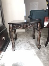 Carved Wood Side Table in Fort Leavenworth, Kansas