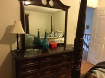 4 Poster Queen Bed frame, Large Dresser w/Mirror, & Steps in Houston, Texas